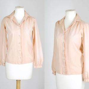 Vintage 70s Pastel Peach Button Down Collared Top